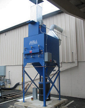 Cartridge dust collector collects steel dust.