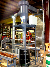 Cyclone separator collects steel dust from cutting.