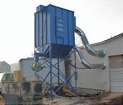 Baghouse dust collector removes wood dust.