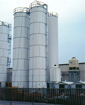 Baghouse collects plastic dust from silos.