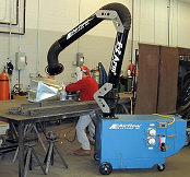 Portable collects stainless steel welding smoke.