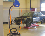 Vacuum system for auto body repair shop.