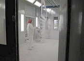 Paint spray booth.